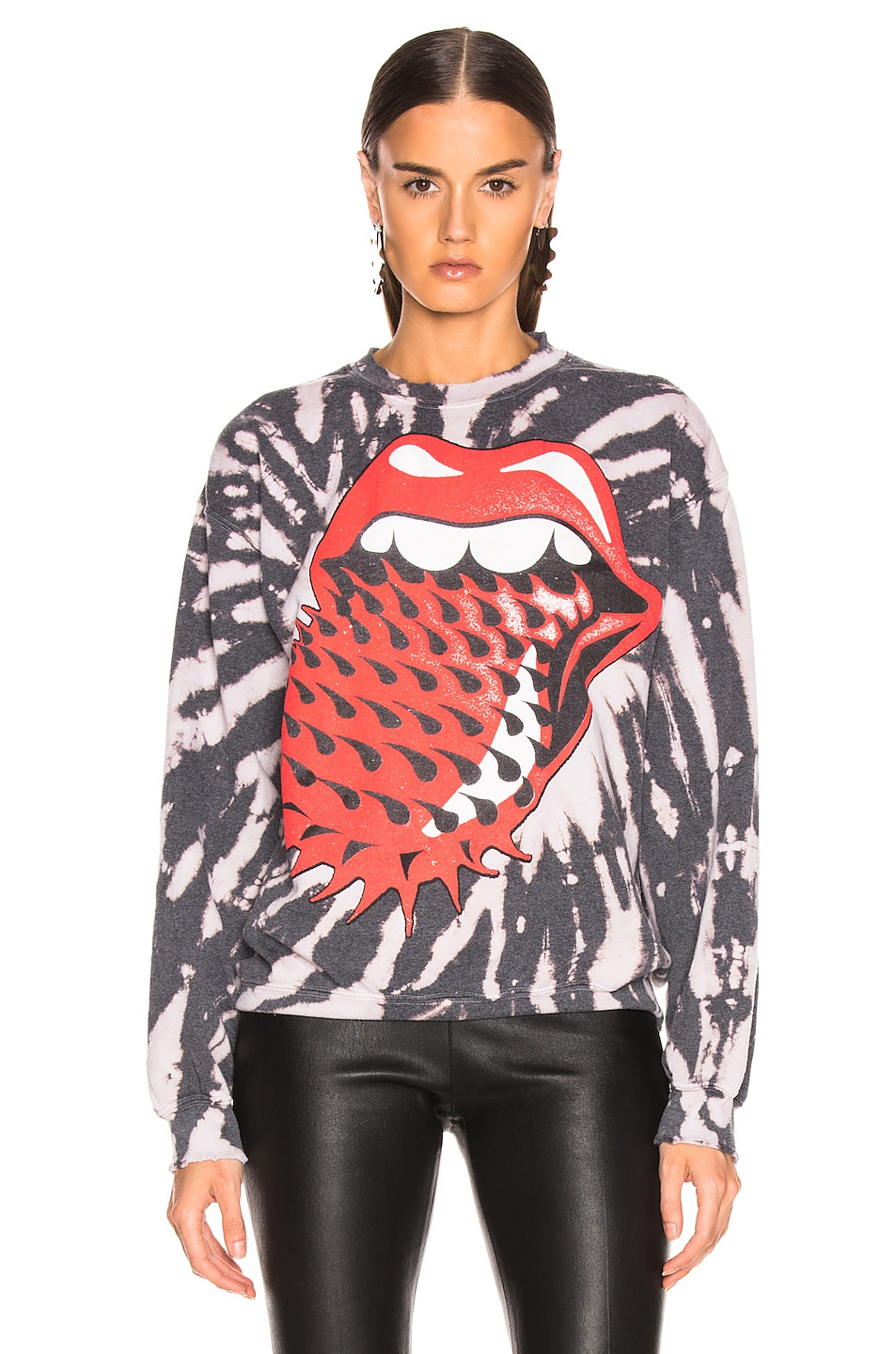 Image 2 of Madeworn Rolling Stones Voodoo Long Sleeve Tee in Black Tie Dye