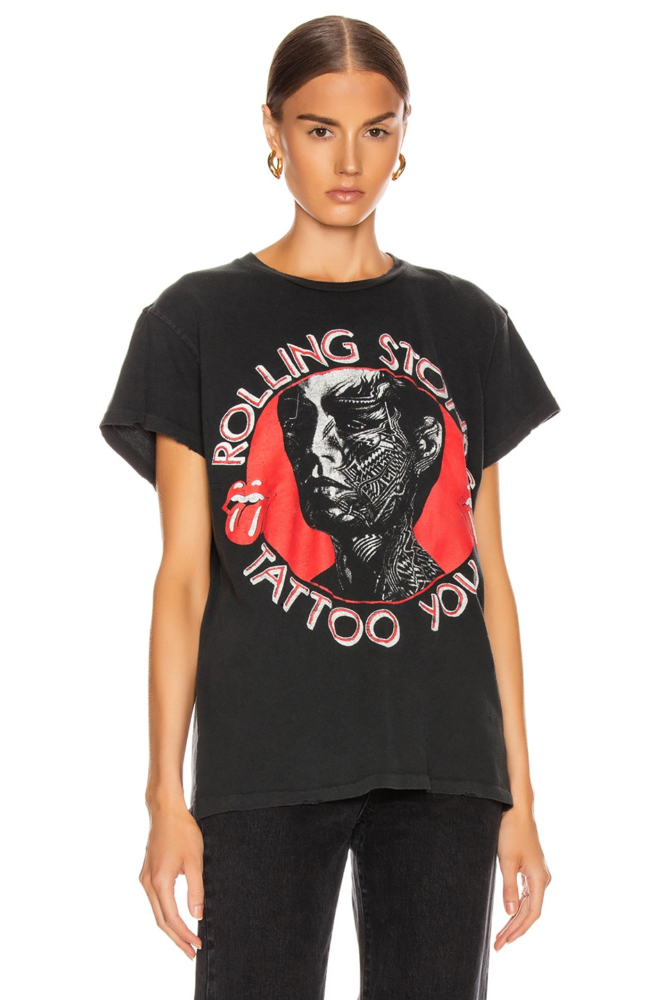 Image 2 of Madeworn The Rolling Stones Tattoo You Crew Tee in Coal