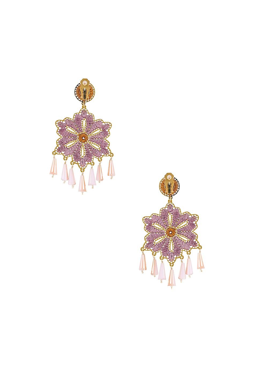 Image 3 of Mercedes Salazar Hibiscus Earrings in Orange & Pink