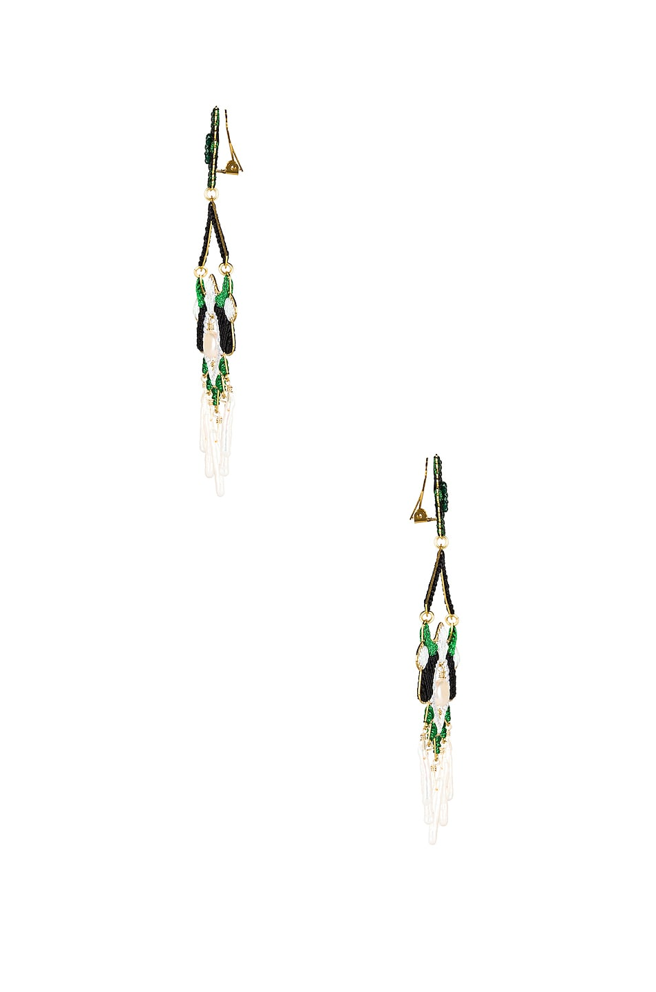 Image 3 of Mercedes Salazar Flor del Paramo Earrings in Black, Green & White