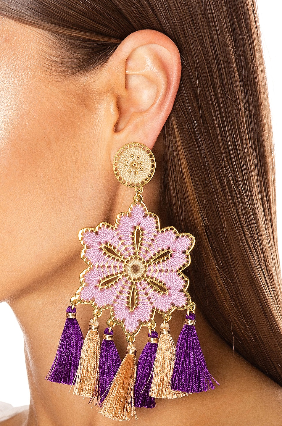 Image 2 of Mercedes Salazar Hibiscus Earrings in Lilac