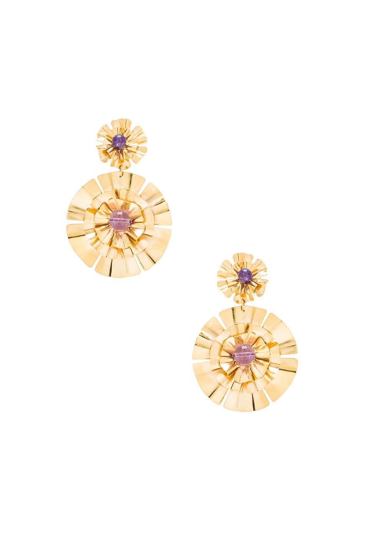 Image 1 of Mercedes Salazar Flor Earrings in Gold & Amethyst