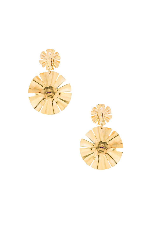 Image 4 of Mercedes Salazar Flor Earrings in Gold & Amethyst