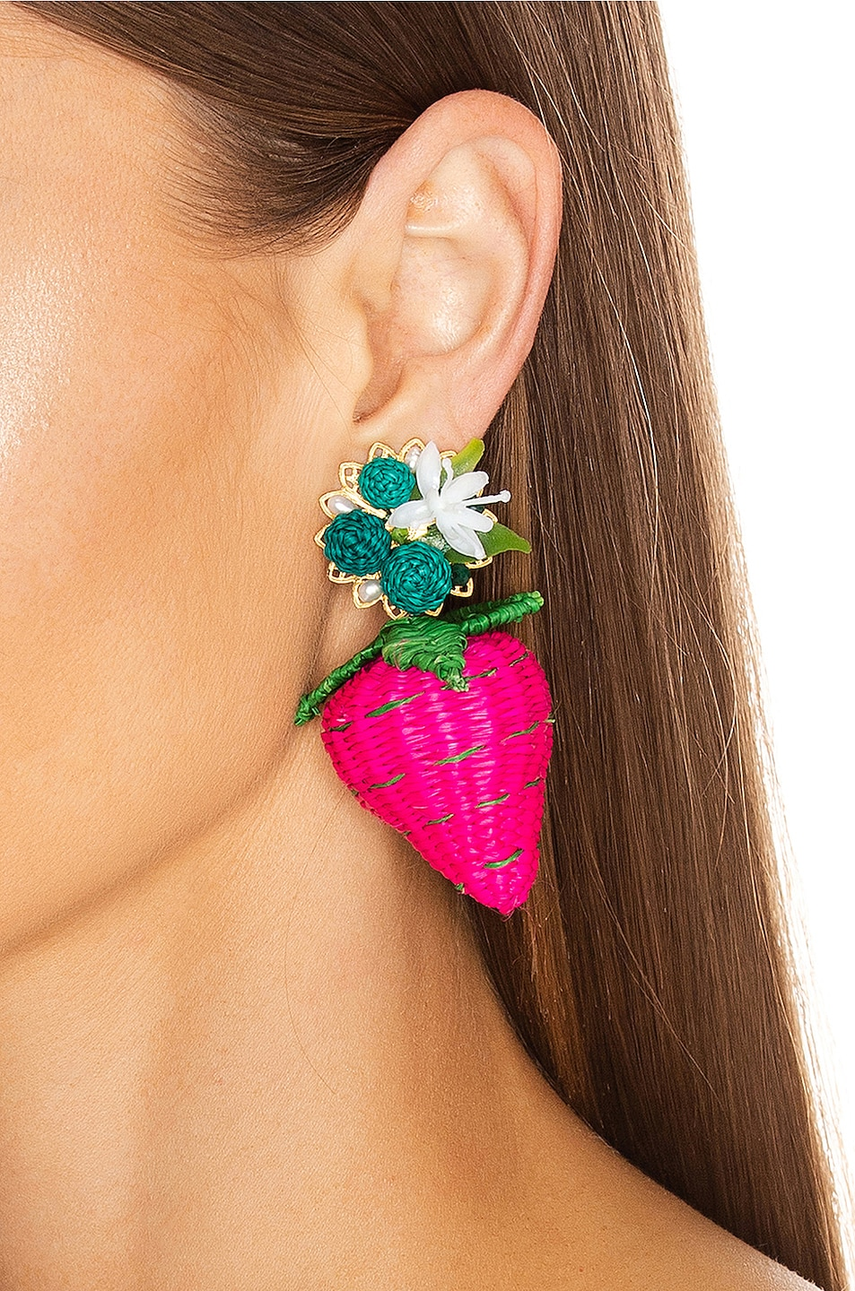 Image 2 of Mercedes Salazar Strawberry Tropics Earrings in Pink