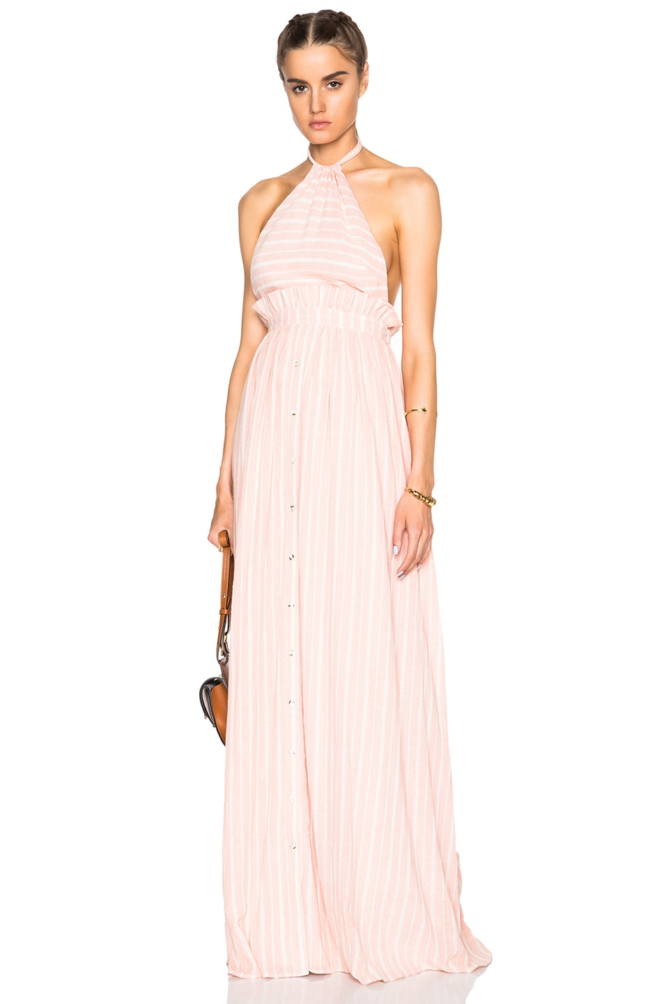 Image 1 Of Mara Hoffman Halter Dress In Pink White Stripe