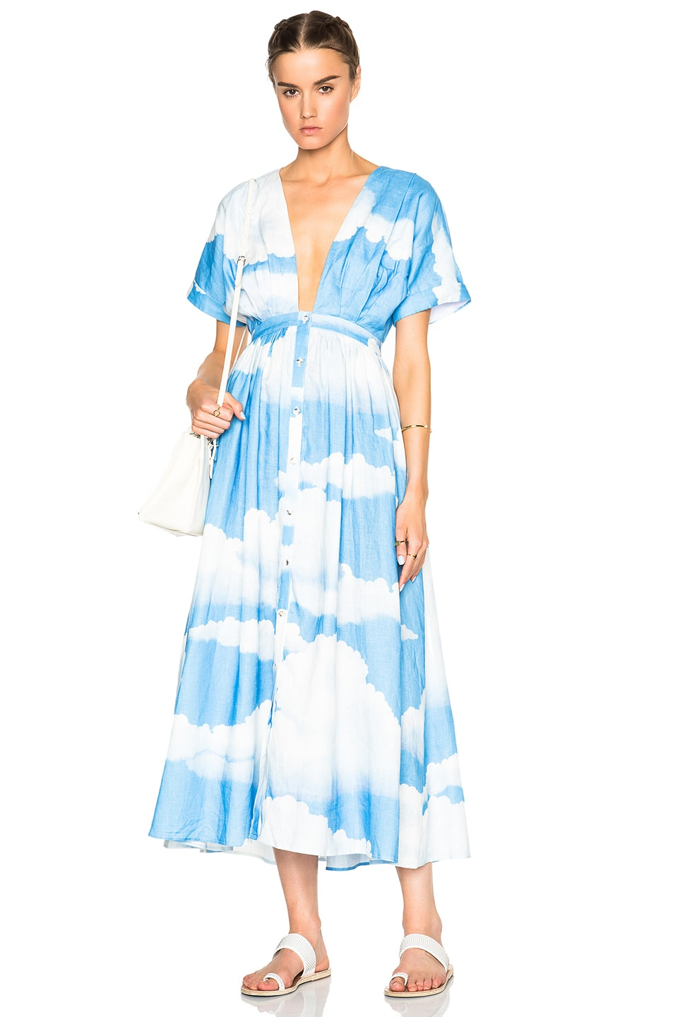 Image 1 of Mara Hoffman Deep V-Neck Kimono Dress in Clouds