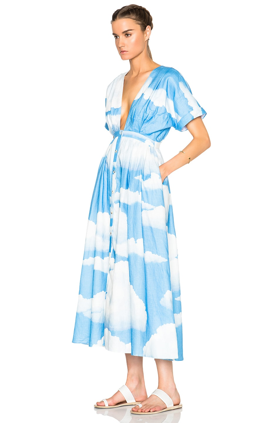 Image 2 of Mara Hoffman Deep V-Neck Kimono Dress in Clouds