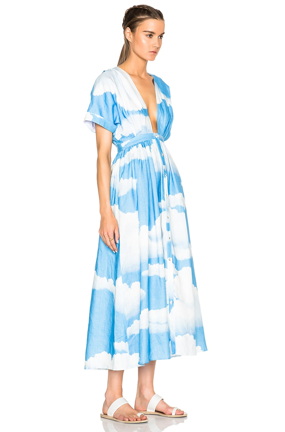 Image 3 of Mara Hoffman Deep V-Neck Kimono Dress in Clouds