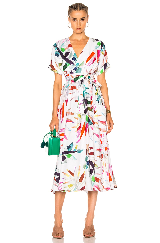 Image 1 of Mara Hoffman Midi Wrap Dress in Xylophone White