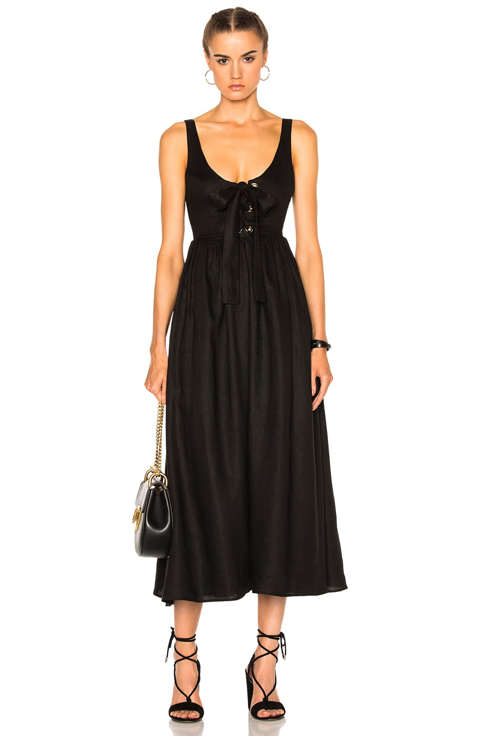 Image 1 of Mara Hoffman Lace Up Midi Dress in Black