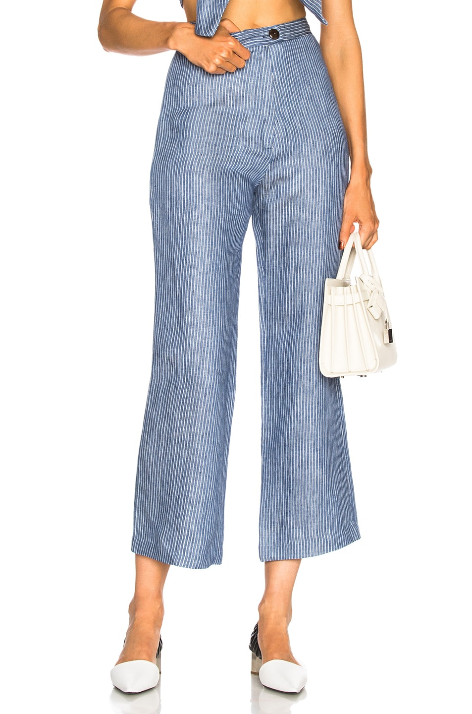 Arlene Striped Organic Linen-Twill Flared Pants in Blue