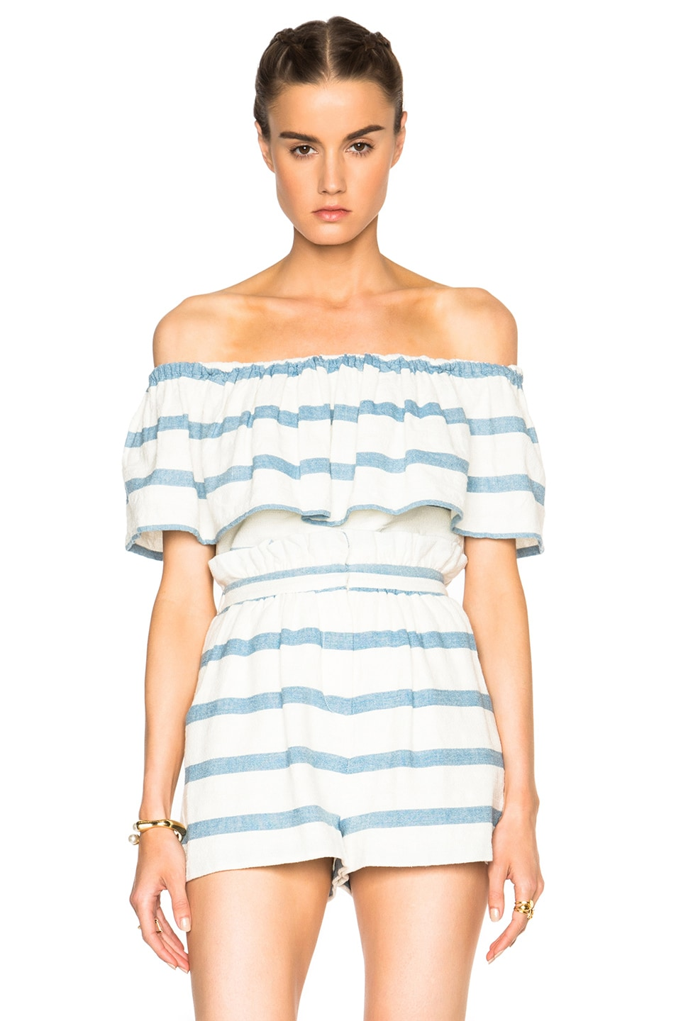 Image 1 of Mara Hoffman Novelty Stripe Ruffle Top in White