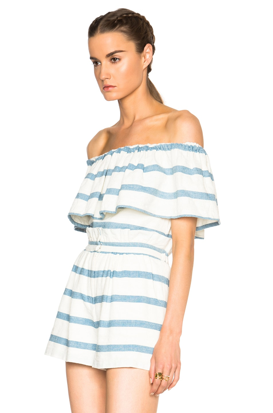 Image 2 of Mara Hoffman Novelty Stripe Ruffle Top in White