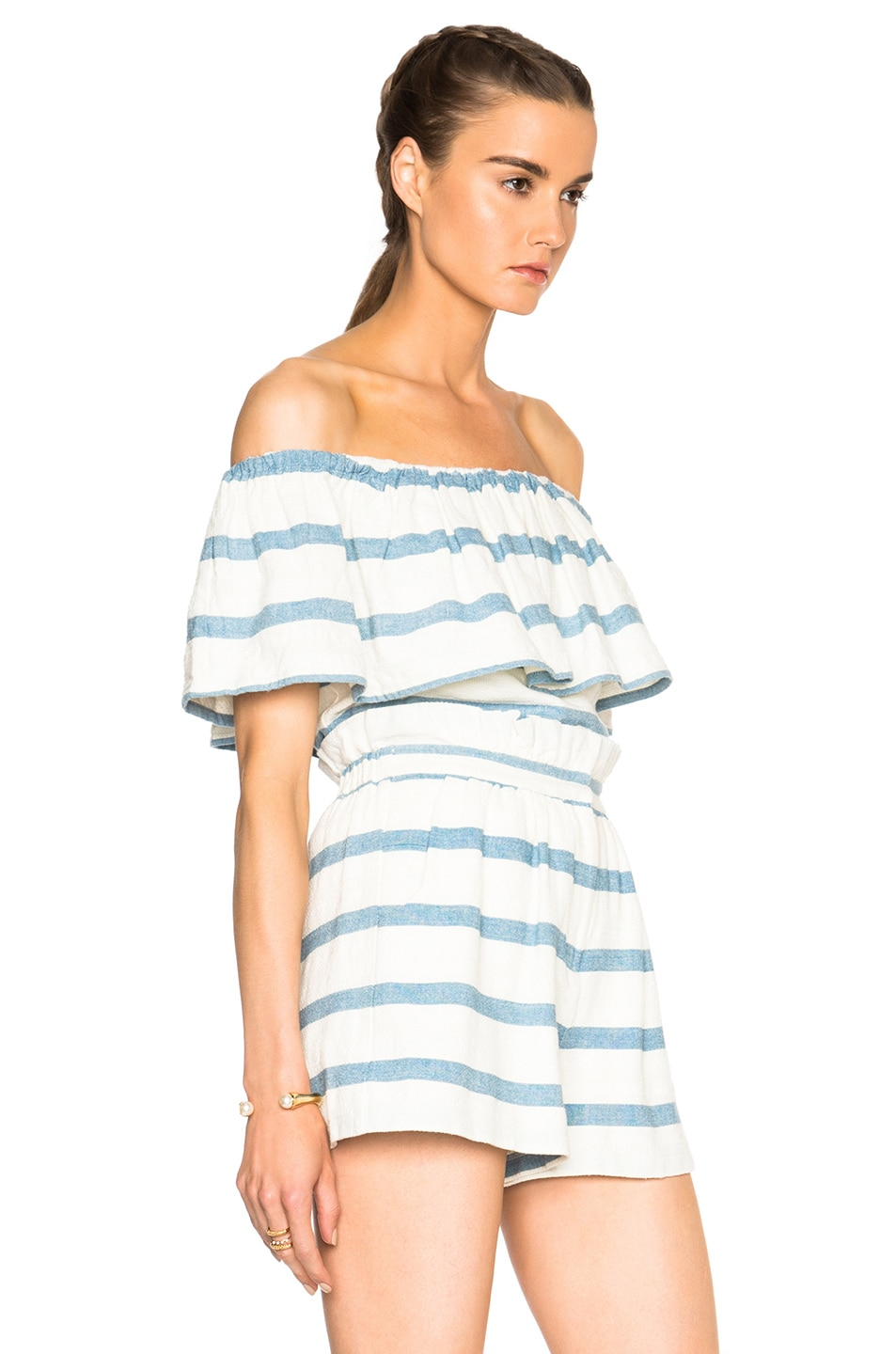 Image 3 of Mara Hoffman Novelty Stripe Ruffle Top in White