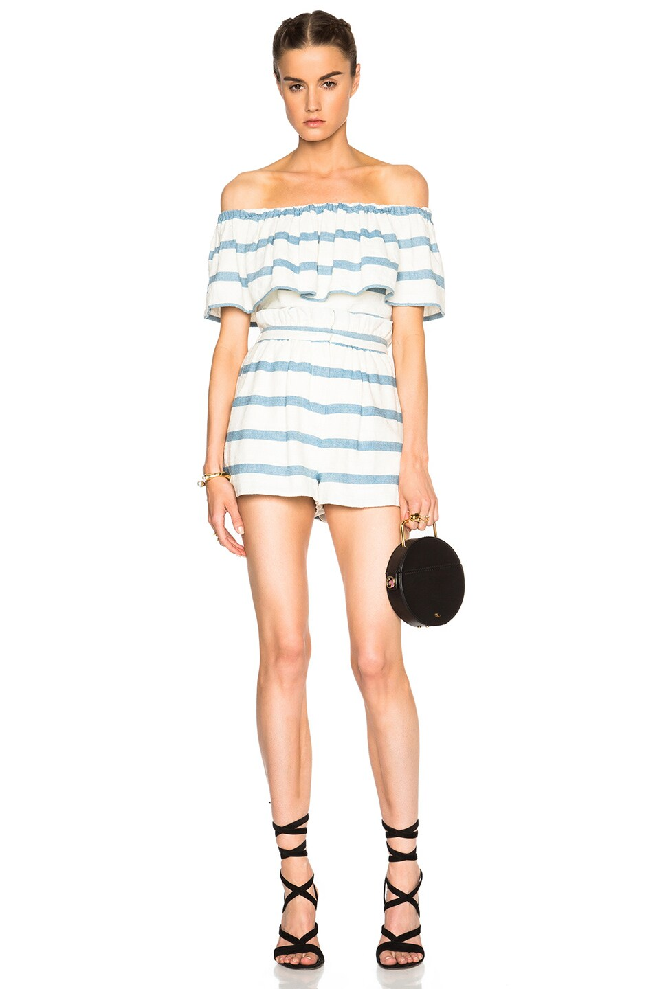 Image 5 of Mara Hoffman Novelty Stripe Ruffle Top in White