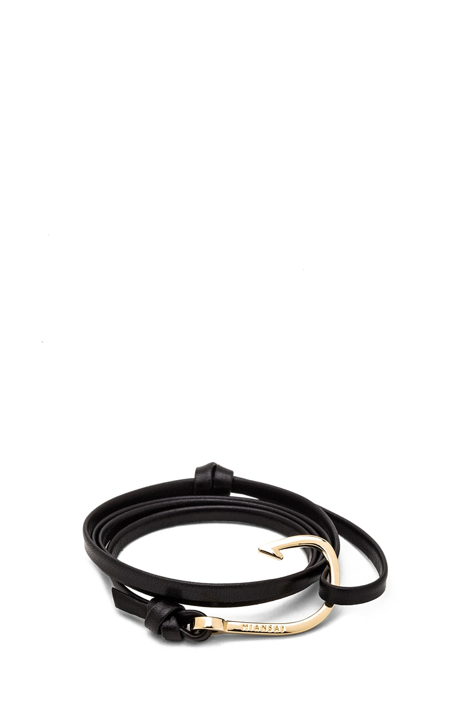 Image 1 of Miansai Hooked Leather Bracelet in Black & Gold