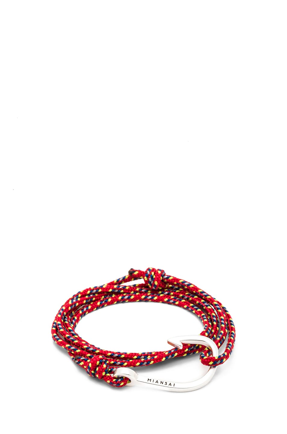Image 1 of Miansai Hooked Rope Bracelet in Red & Silver