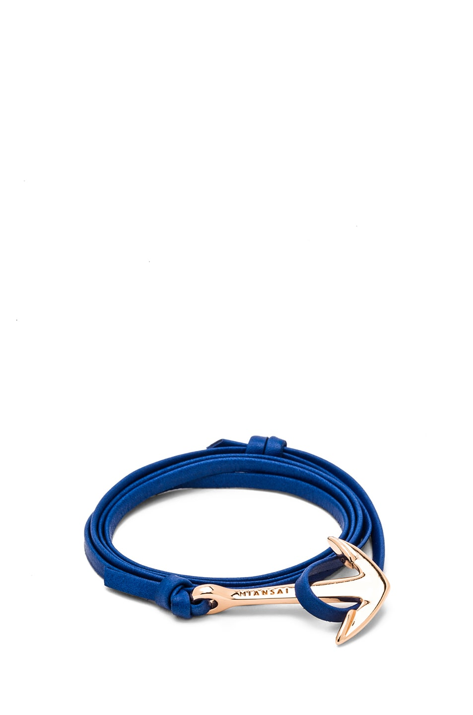 Image 1 of Miansai Anchor Leather Bracelet in Blue & Rose Gold