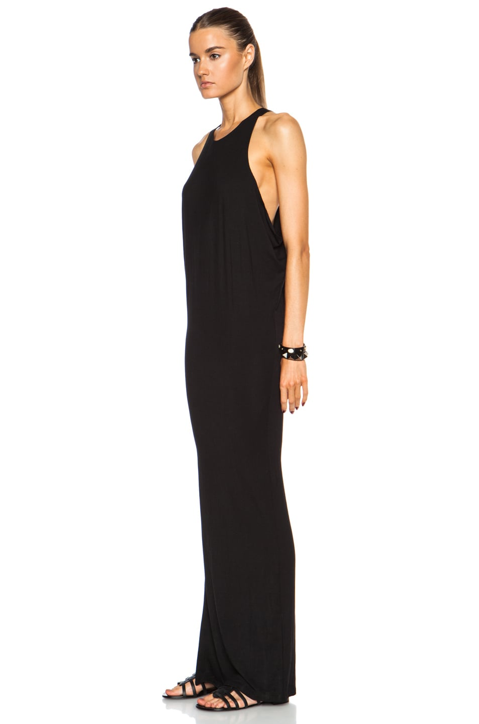 Image 2 of MIKOH High Neck Maxi Viscose-Blend Dress with Side Slit in Night
