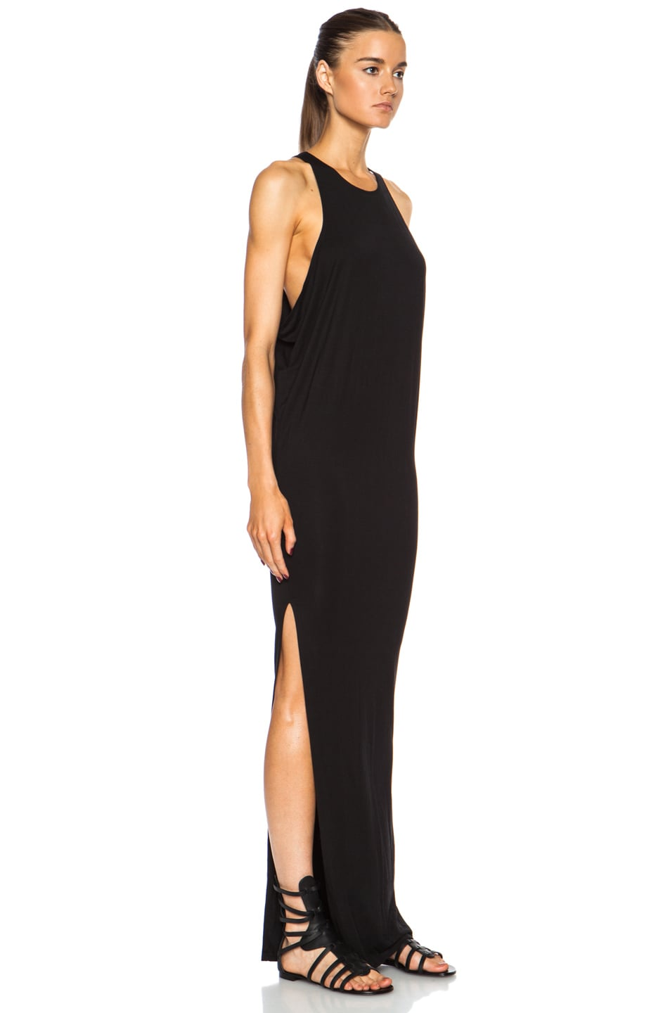 Image 3 of MIKOH High Neck Maxi Viscose-Blend Dress with Side Slit in Night