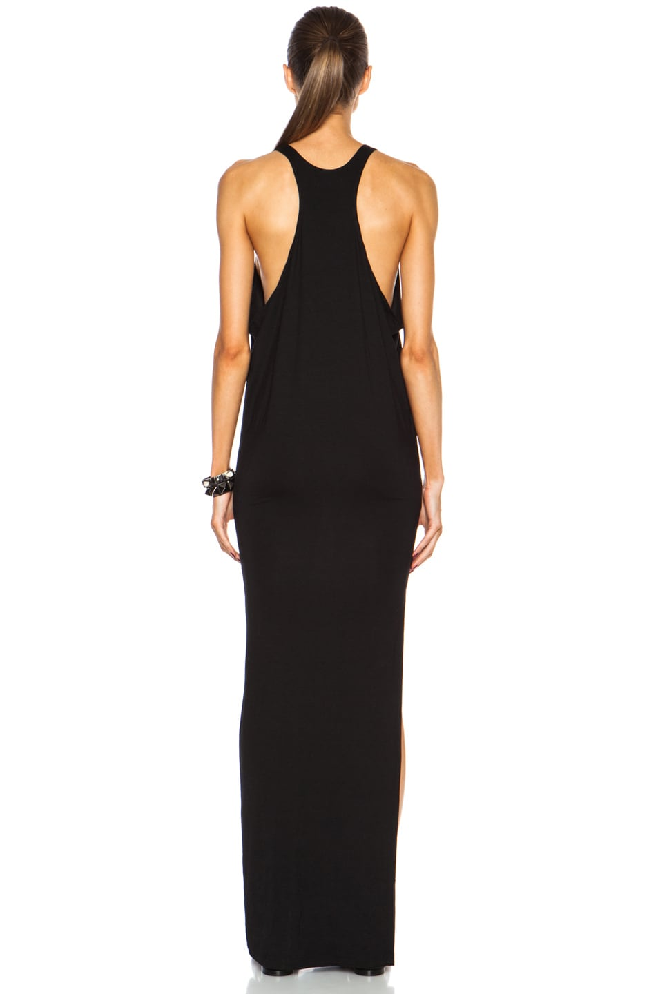 Image 4 of MIKOH High Neck Maxi Viscose-Blend Dress with Side Slit in Night