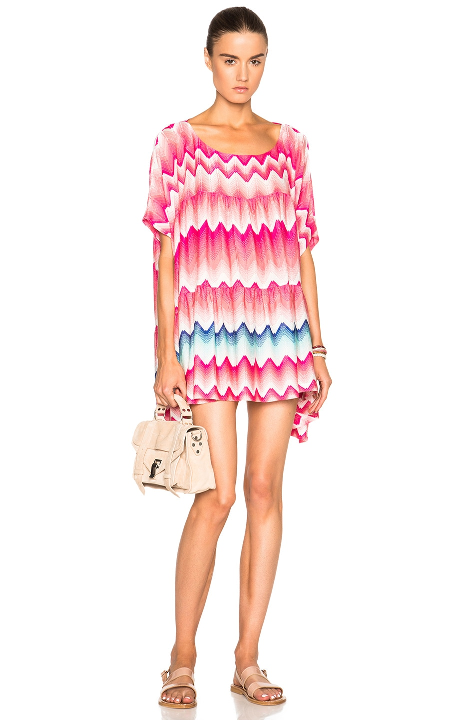 Image 1 of Missoni Mare Printed Mini Caftan in Light Pink