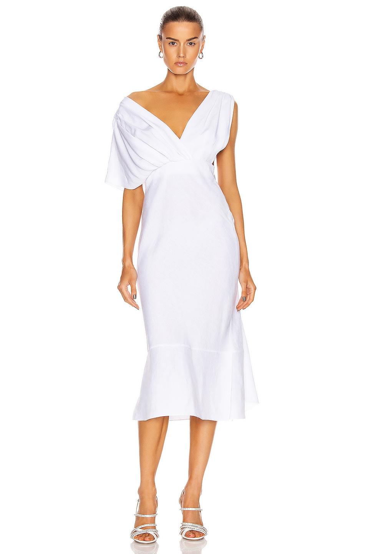 Image 1 of Miu Miu Midi Dress in Bianco
