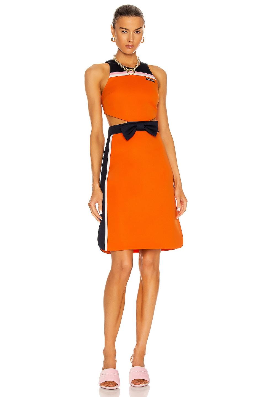 Image 1 of Miu Miu Intarsia Technical Jersey Dress in Arancio & Baltico