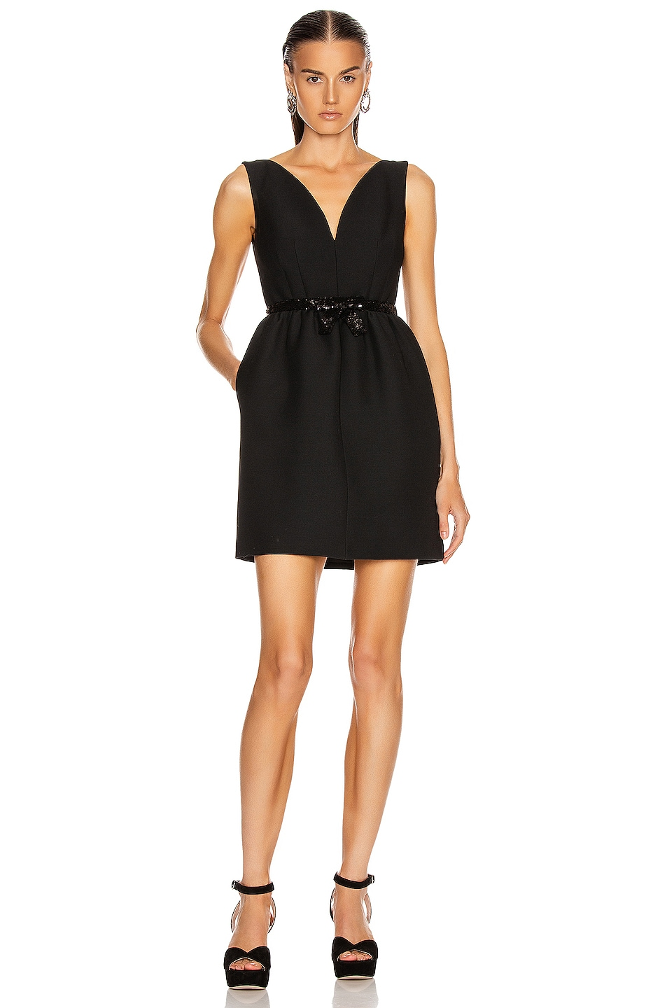 Image 1 of Miu Miu Bow Mini Dress in Black