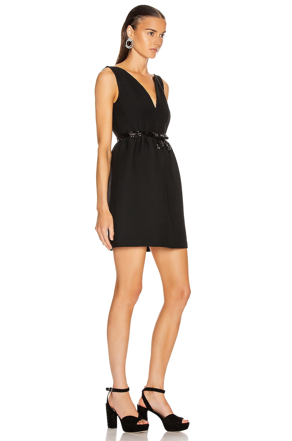 Image 2 of Miu Miu Bow Mini Dress in Black