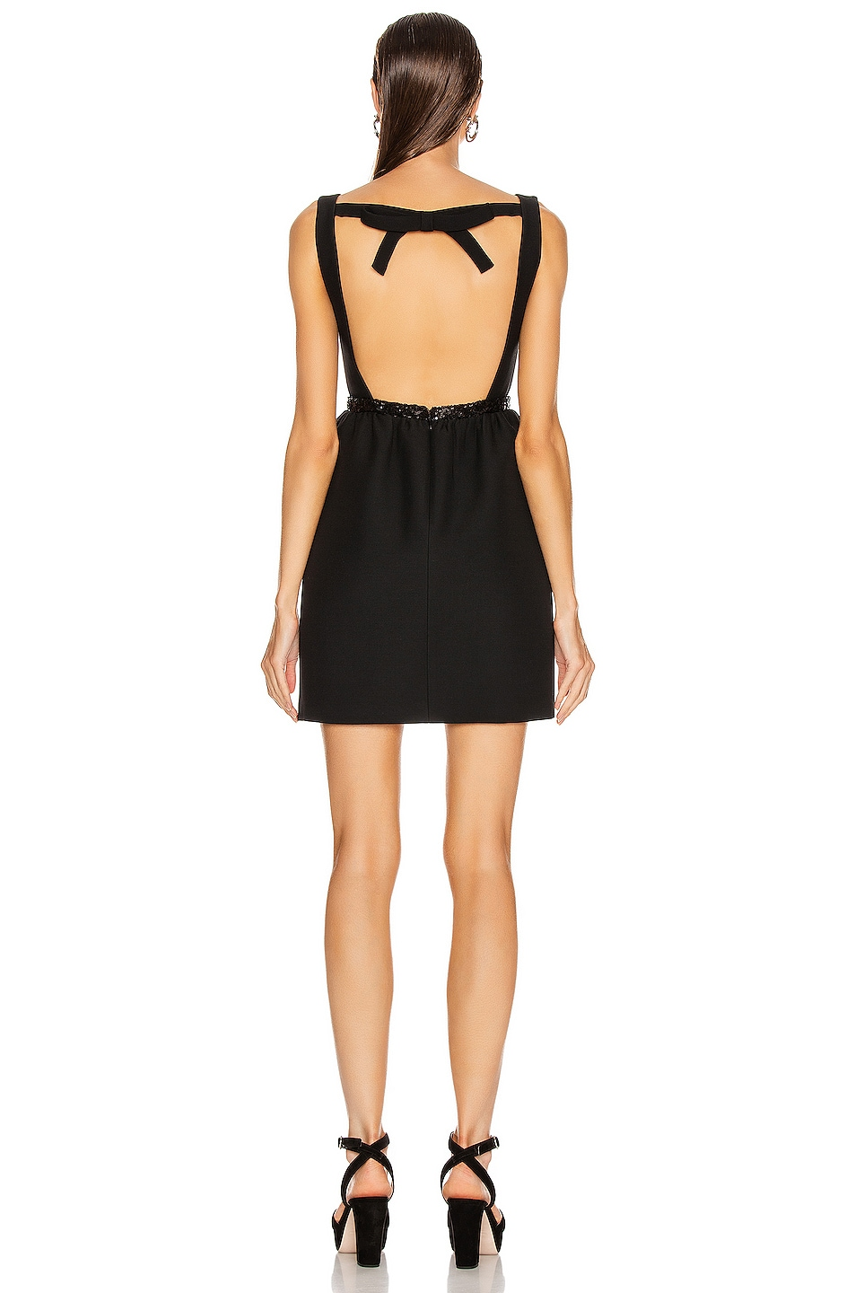 Image 3 of Miu Miu Bow Mini Dress in Black