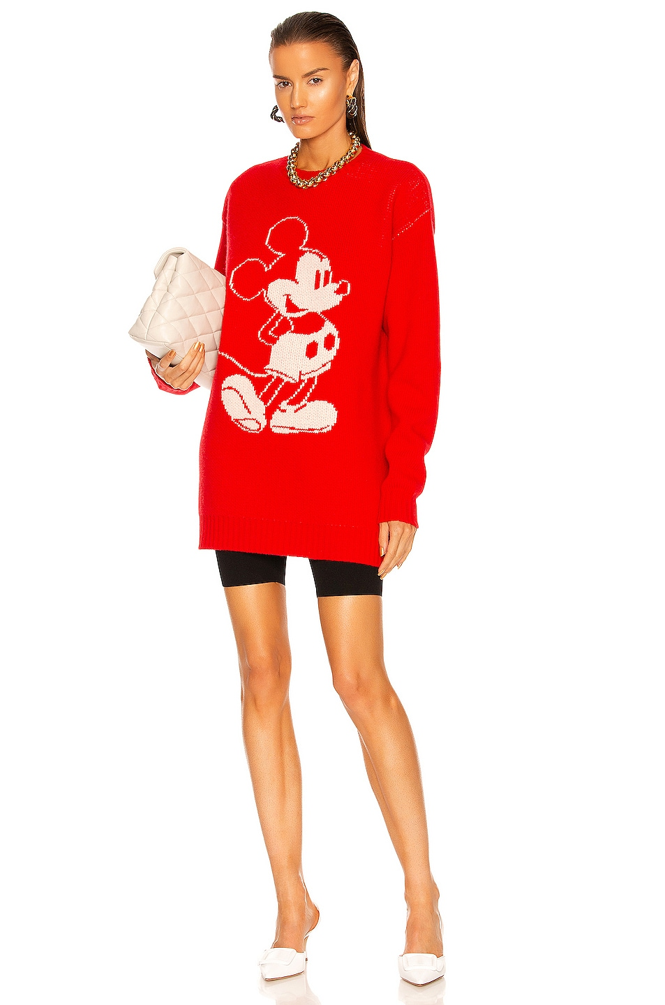 Image 1 of Miu Miu Oversized Knit Dress in Rosso