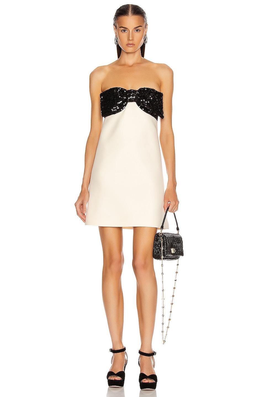 Image 1 of Miu Miu Strapless Bow Mini Dress in Talco
