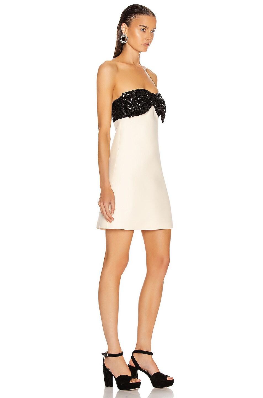 Image 2 of Miu Miu Strapless Bow Mini Dress in Talco
