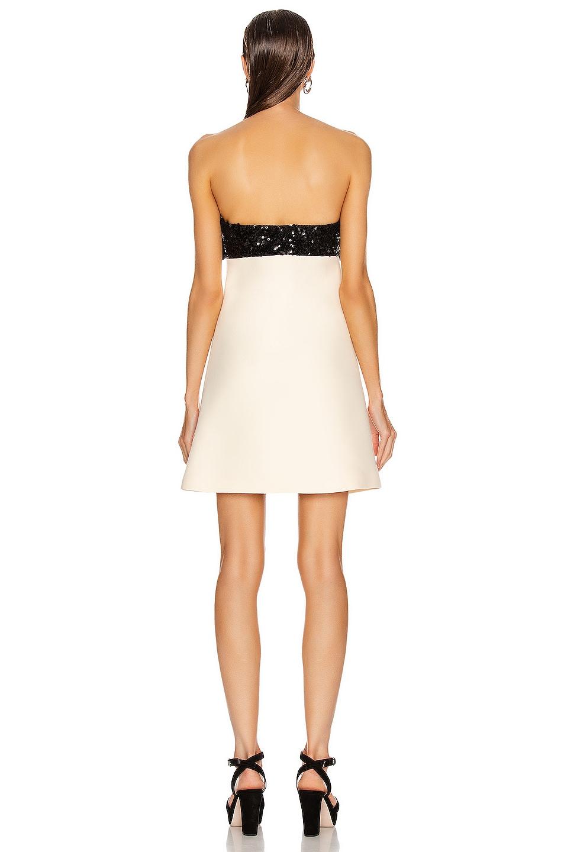 Image 3 of Miu Miu Strapless Bow Mini Dress in Talco
