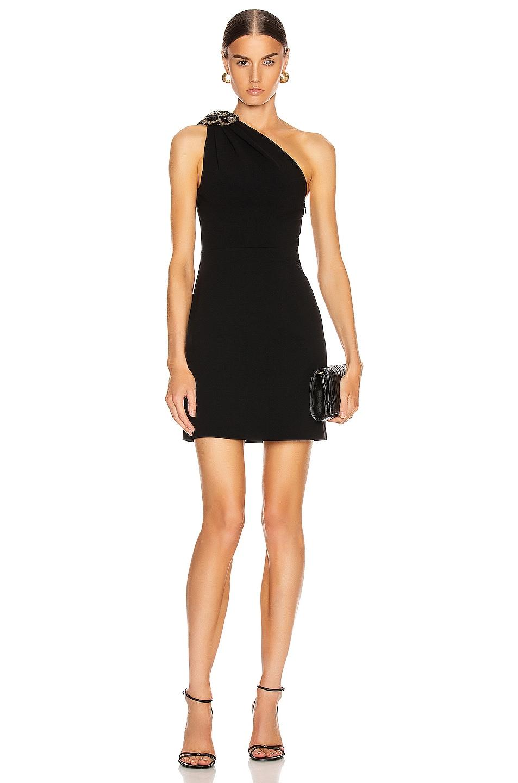 Image 1 of Miu Miu One Shoulder Mini Dress in Black