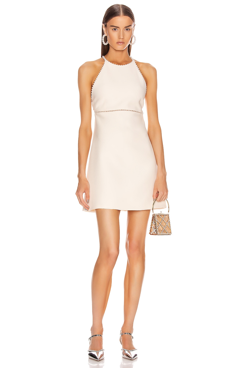 Image 1 of Miu Miu Jewel Crossback Mini Dress in Talco