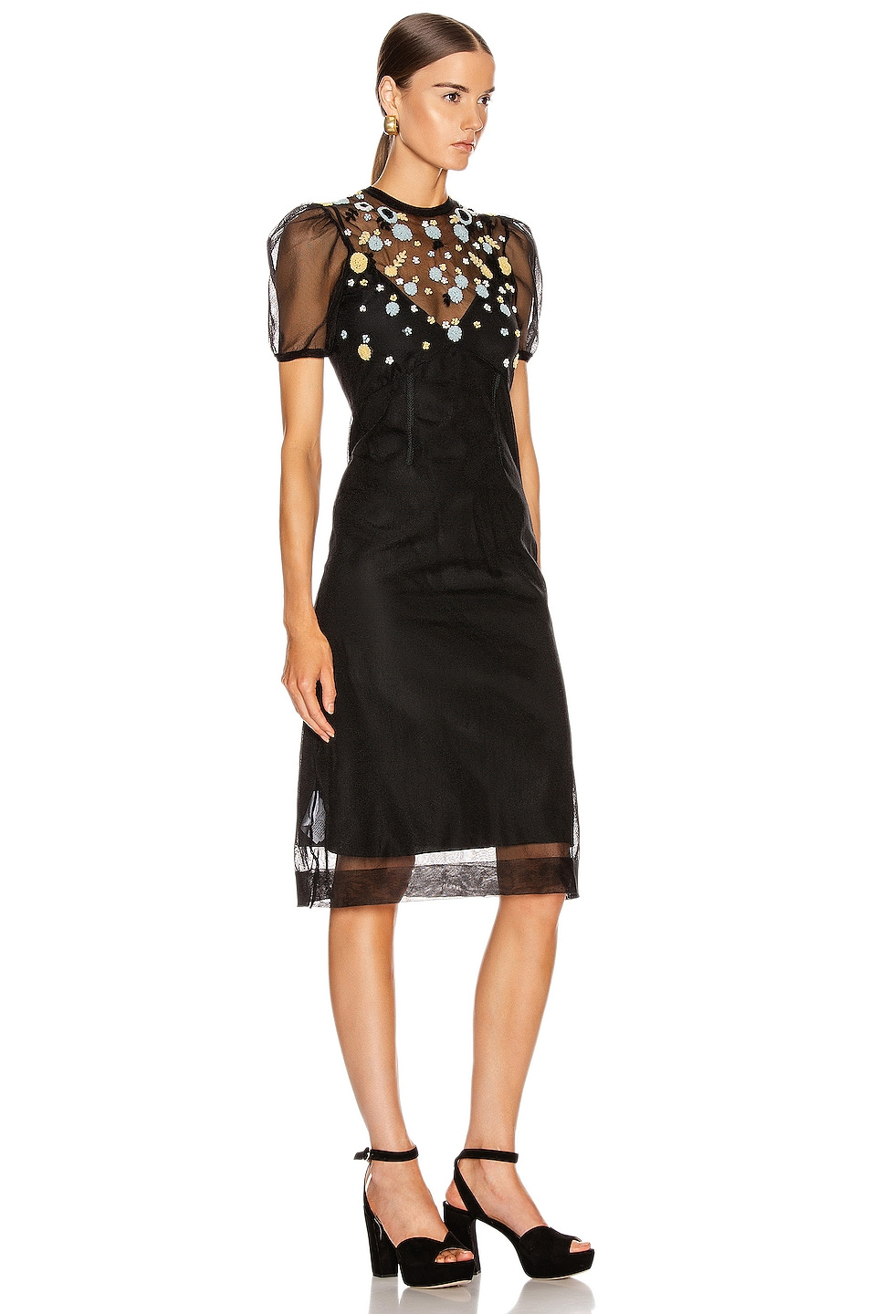 Image 2 of Miu Miu Short Sleeve Floral Embroidered Dress in Black