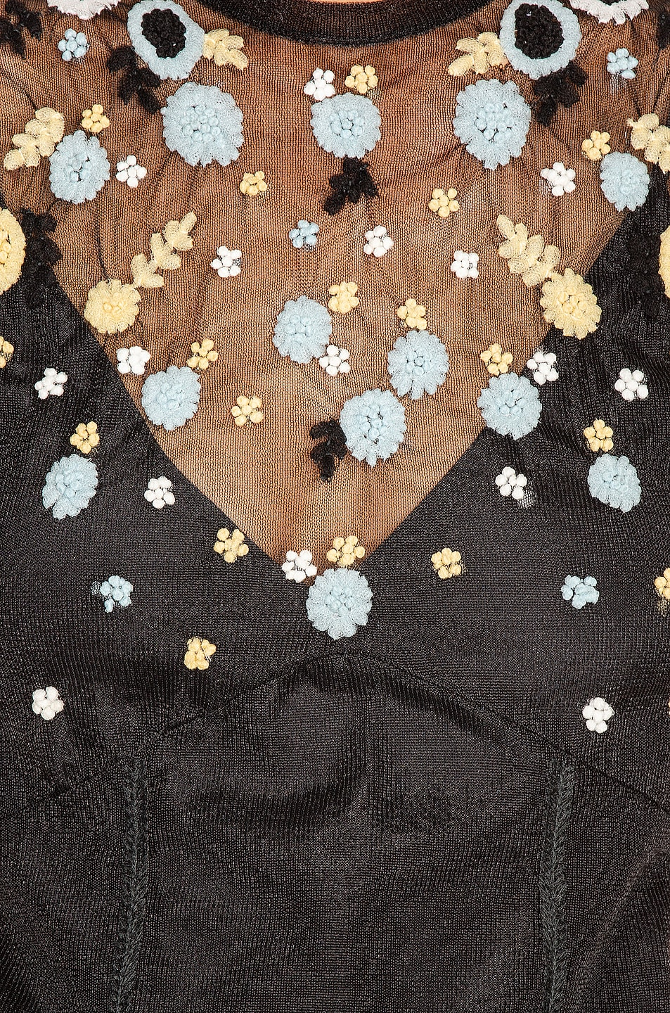 Image 4 of Miu Miu Short Sleeve Floral Embroidered Dress in Black