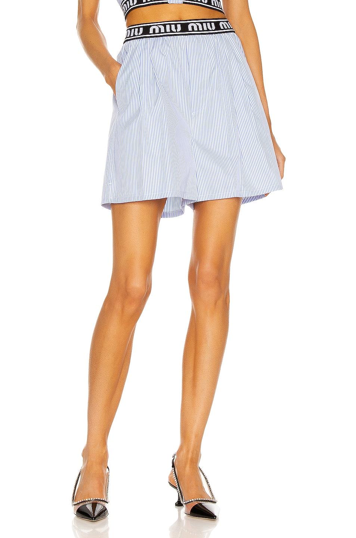 Image 1 of Miu Miu Striped Poplin Short in Celeste