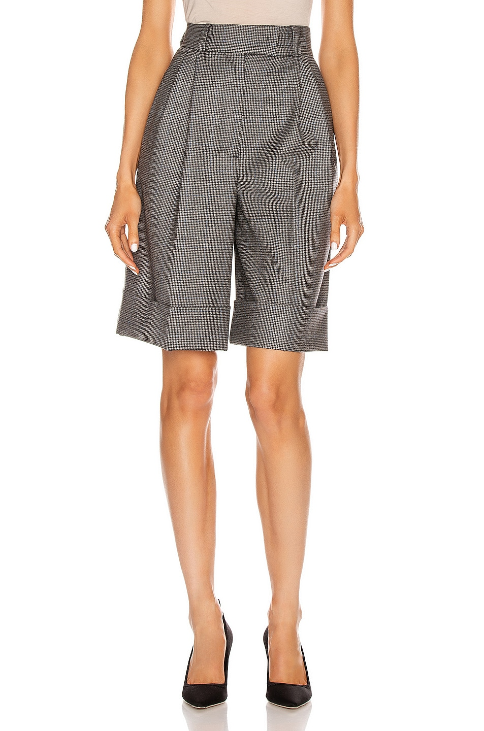 Image 1 of Miu Miu Cuffed Knee Length Short in Grey