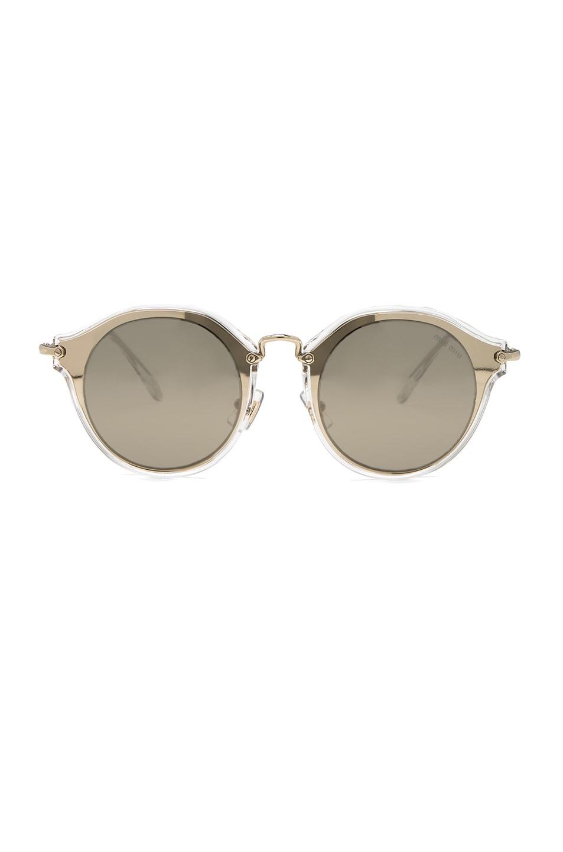 Image 1 of Miu Miu Round Sunglasses in Pale Gold & Brown Mirror