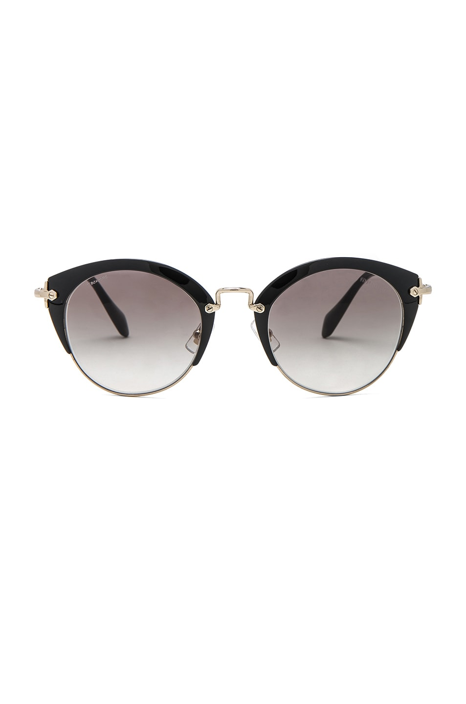 Image 1 of Miu Miu Circle Sunglasses in Black & Pale Gold