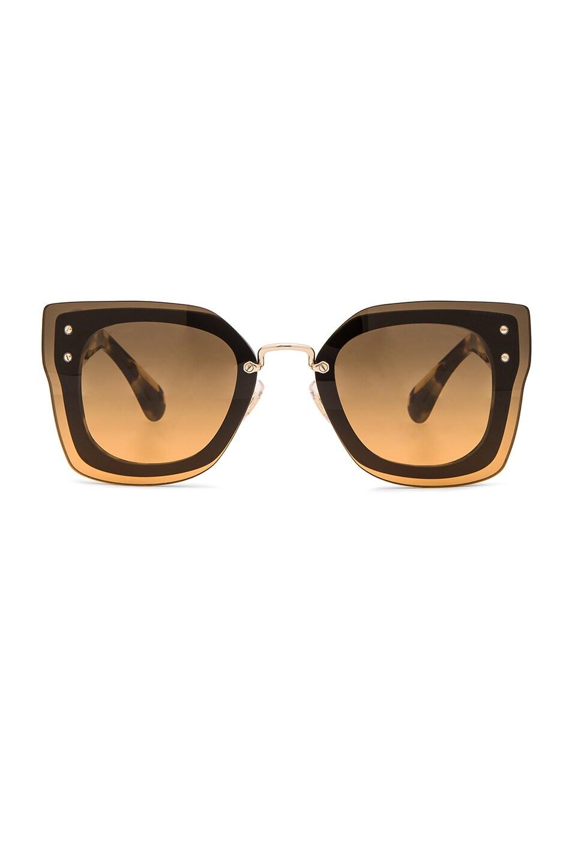 Image 1 of Miu Miu Square Sunglasses in Black & Light Havana