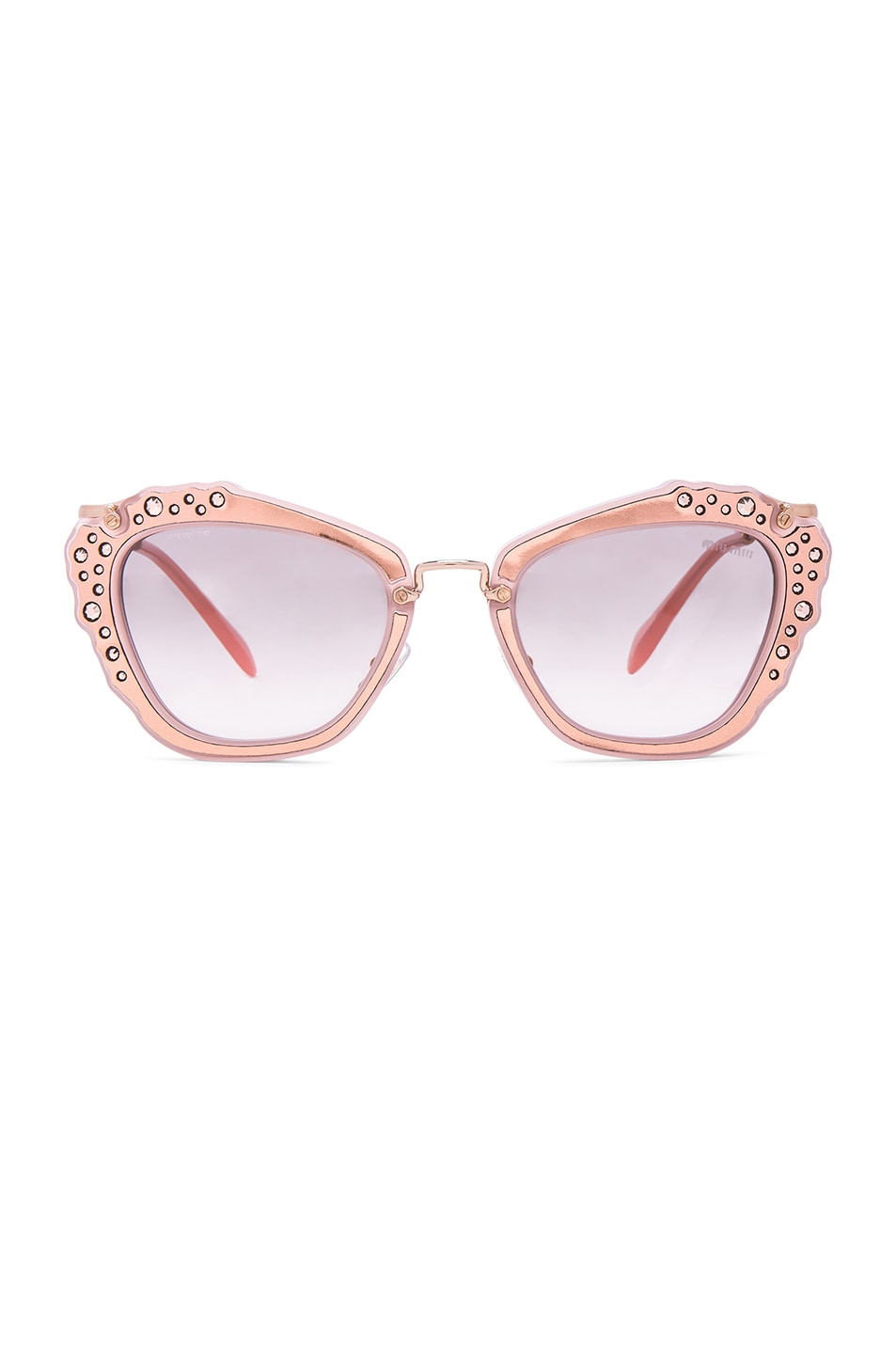 Image 1 of Miu Miu Embellished Cat Eye Sunglasses in Matte Pink