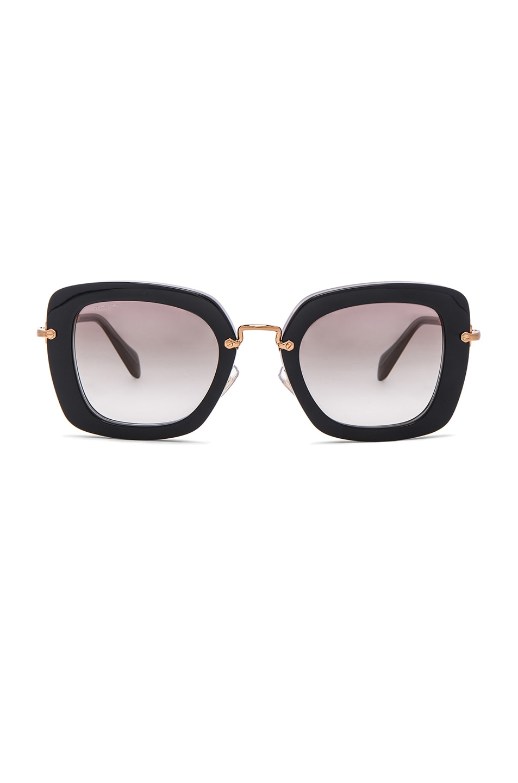 Image 1 of Miu Miu Oversized Square Sunglasses in Black Opal Grey