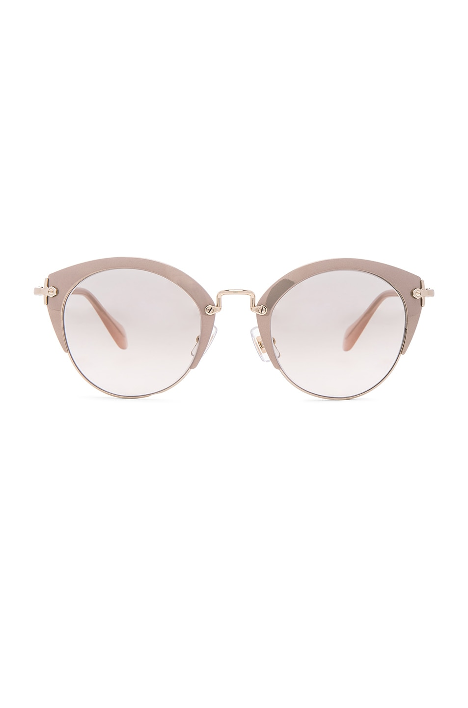 Image 1 of Miu Miu Round Cat Eye Sunglasses in Mirror Pink & Pale Gold
