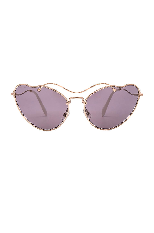 Image 1 of Miu Miu Cat Eye Sunglasses in Antique Gold & Purple Brown