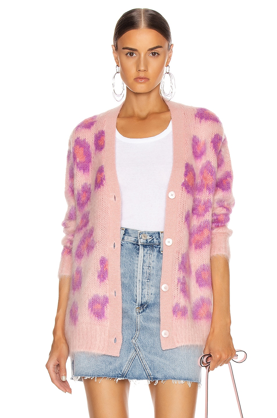Image 1 of Miu Miu Leopard Cardigan in Pink