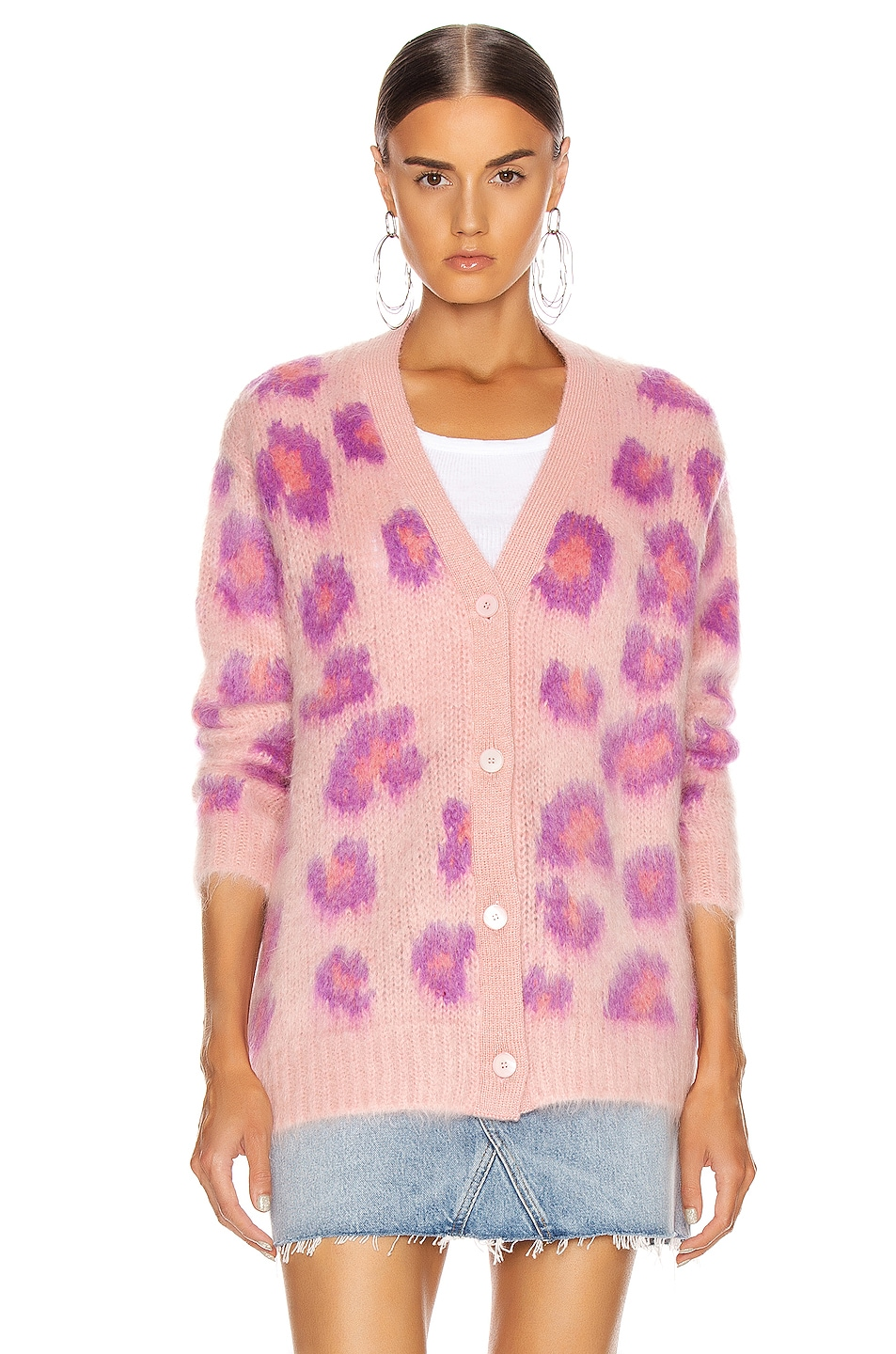 Image 2 of Miu Miu Leopard Cardigan in Pink